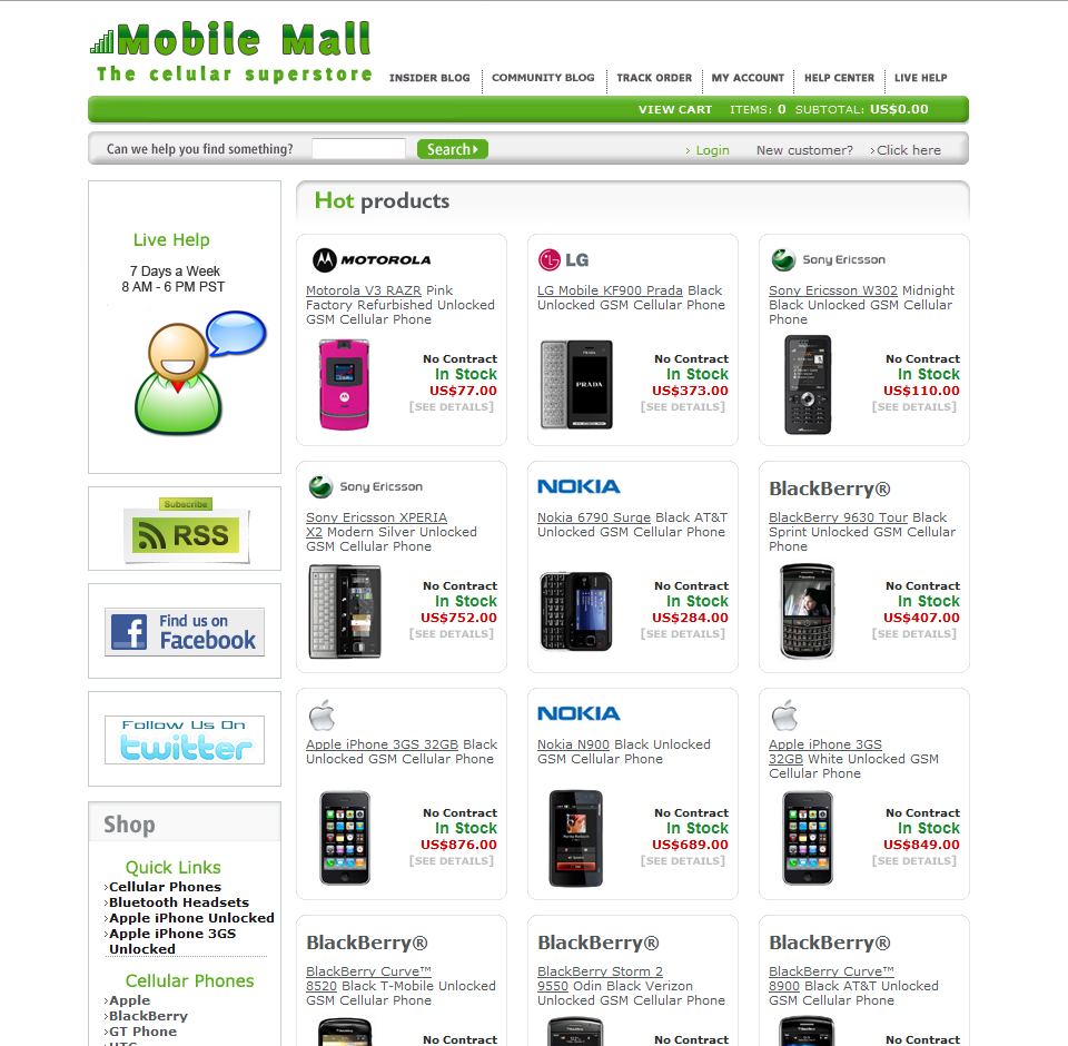 Mobile Mall Website